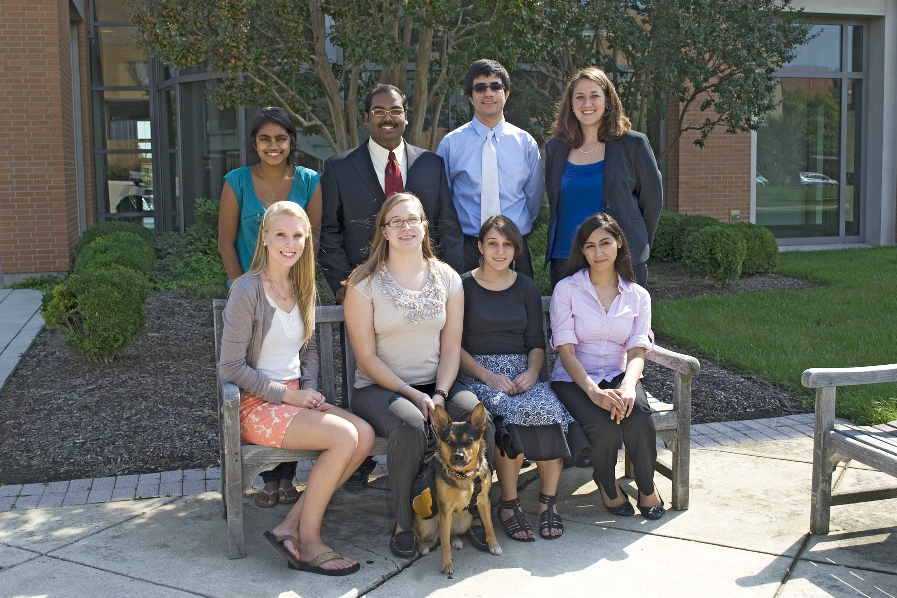 2011-2012 France-Merrick Scholarship Cohort 2011-2012 France-Merrick Scholarship Cohort. Front row, from left to right: Stephanie Pully, Amy Poole with her Service Dog Honey, Kelly Cyr, and Aleeza Abbasi. Back row: Revathi Chandry, Gift Jayakar, Salar Khaleghzadegan, and Lori Hardesty.